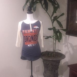 NWT Denver Broncos Juniors Raglan 3/4 Sleeve Shirt